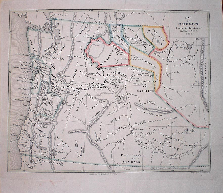 Map Of Oregon Showing The Location Of Indian Tribes Webster S Fine